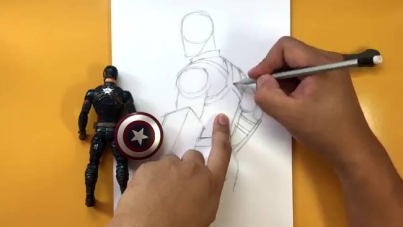 Как нарисовать Капитана Америку из Войны Бесконечности 9