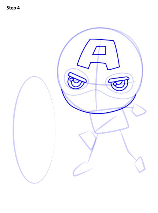 Как нарисовать чиби Капитана Америку 4