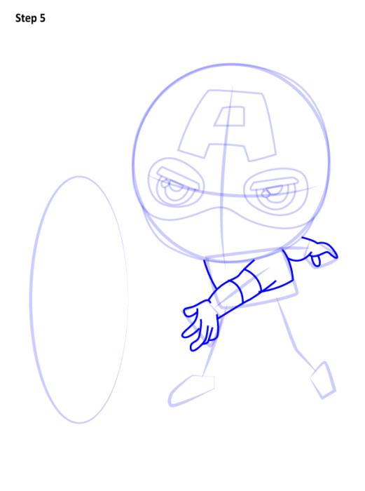 Как нарисовать чиби Капитана Америку 5