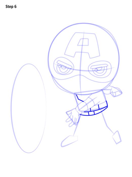 Как нарисовать чиби Капитана Америку 6