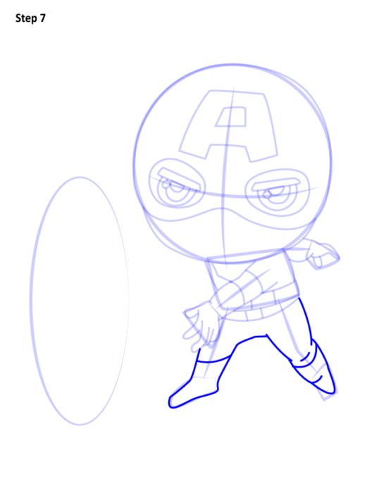 Как нарисовать чиби Капитана Америку 7