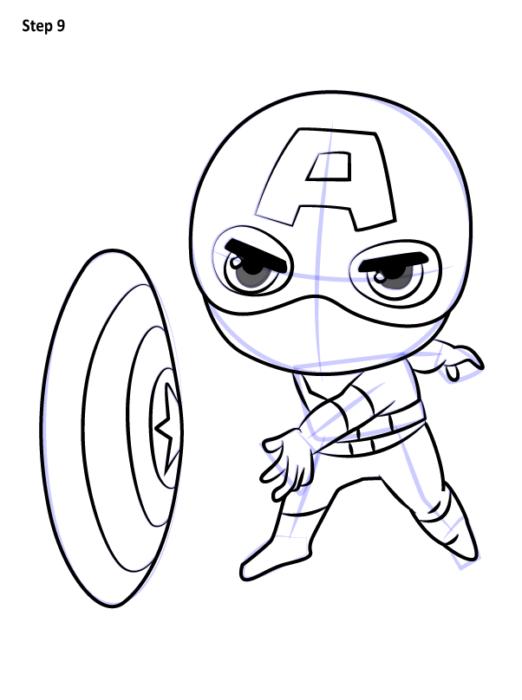 Как нарисовать чиби Капитана Америку 9