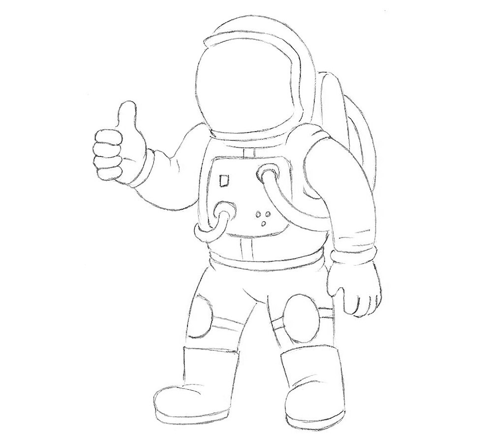 урок рисования космонавта 5