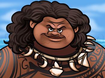 Рисуем лицо Мауи из мультика