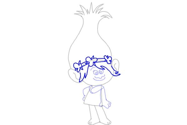 Как нарисовать Розочку из мультфильма Тролли