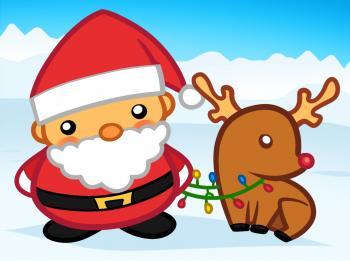 Как нарисовать Санта Клауса и оленя рудольфа