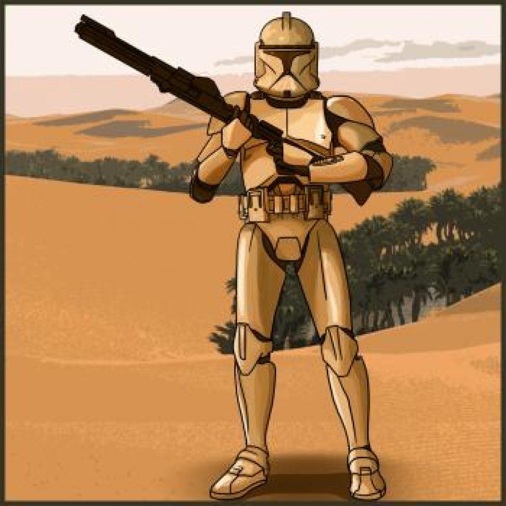 Нарисовать солдата клона из star wars
