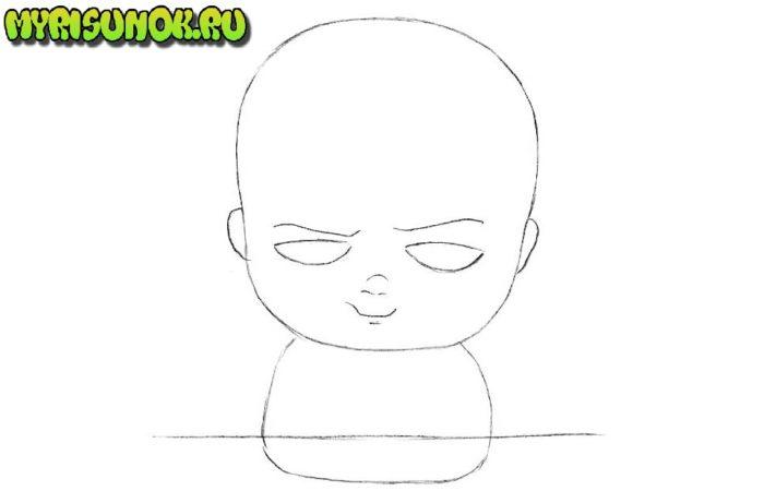 Как нарисовать босса молокососа карандашом поэтапно