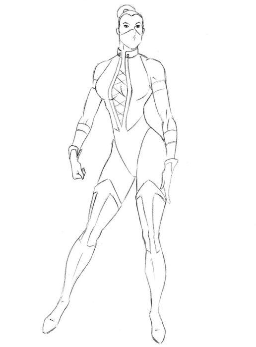 Как нарисовать Китану из игры8