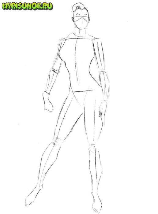 Как нарисовать Китану из игры3