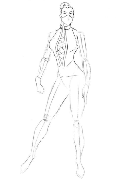 Как нарисовать Китану из игры5