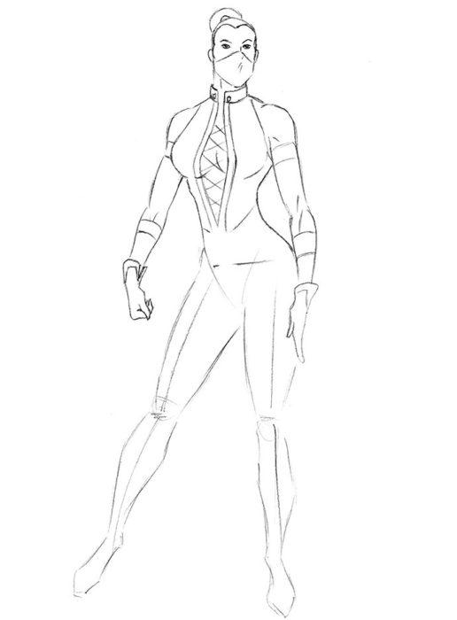 Как нарисовать Китану из игры6