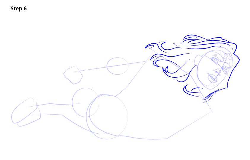 как нарисовать летящую Чудо-женщину