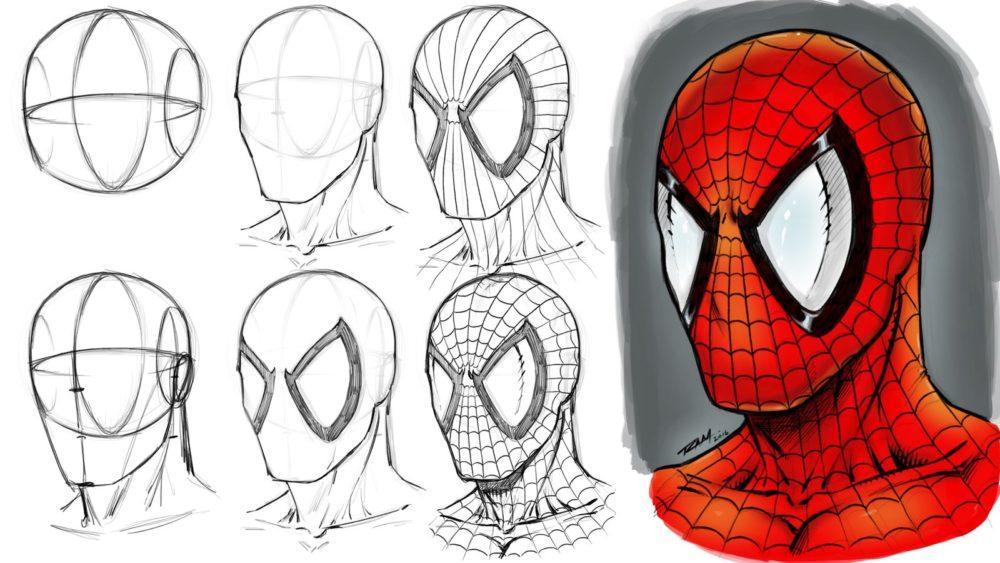 Как нарисовать маску Человека паука
