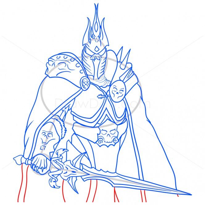 Как нарисовать Артаса из Варкрафт