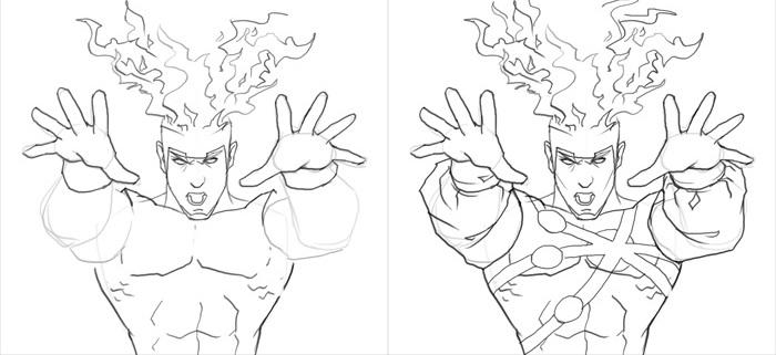 Как нарисовать Огненный шторм из комиксов
