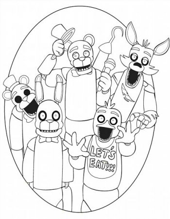 Раскраска видеоигры 5 ночей с Фредди