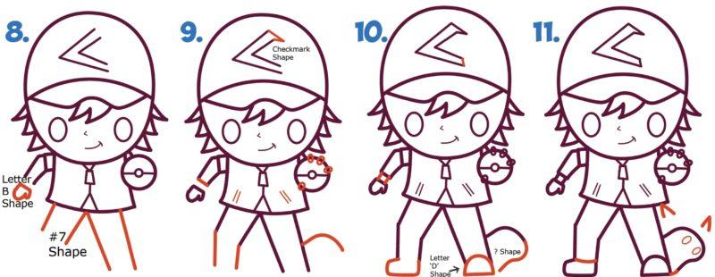Как нарисовать Эша и Пикачу