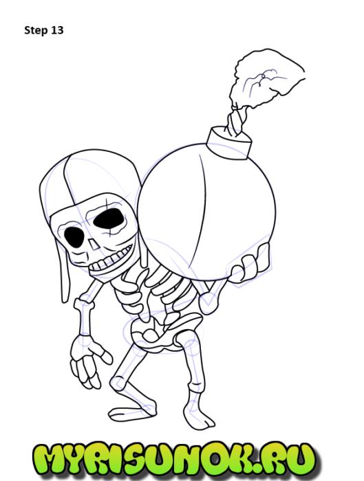 Как нарисовать бомбера изClashofClans