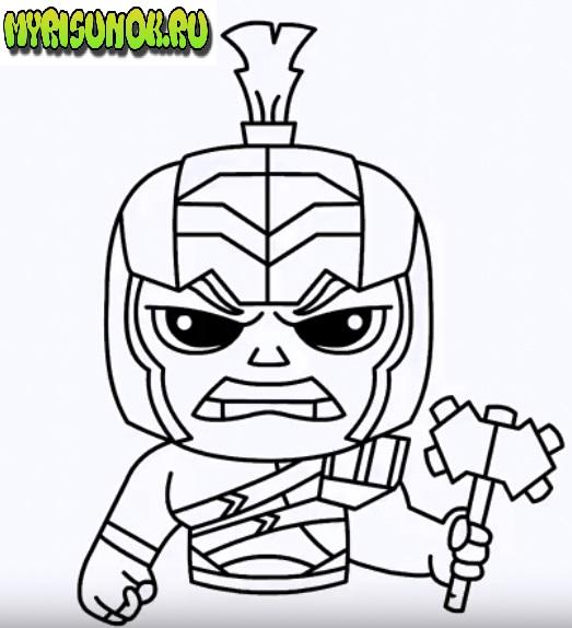 Как нарисовать Халка из Тора 3