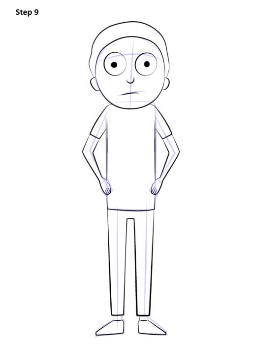 Как нарисовать Морти поэтапно
