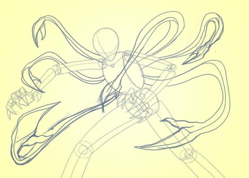 Как поэтапно нарисовать Слендермена 4