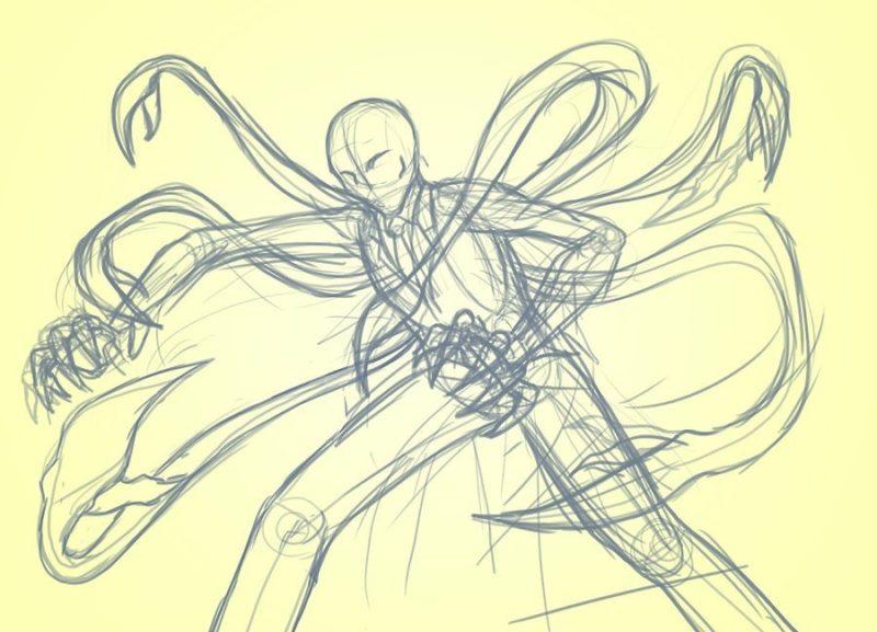 Как поэтапно нарисовать Слендермена 5
