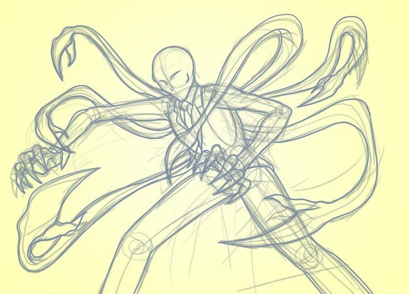 Как поэтапно нарисовать Слендермена 6
