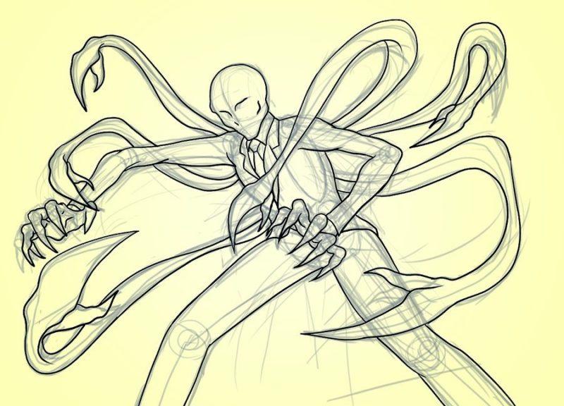 Как поэтапно нарисовать Слендермена 7