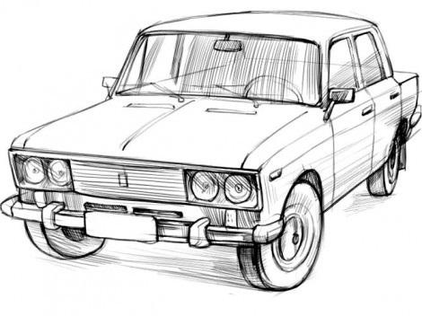 Как нарисовать машину Жигули поэтапно
