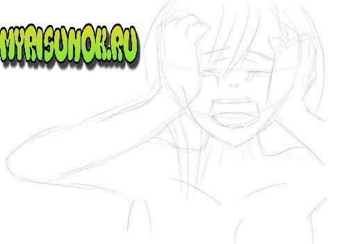 Как нарисовать плачущую аниме