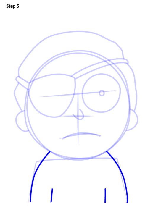 Как просто нарисовать злого Морти 5