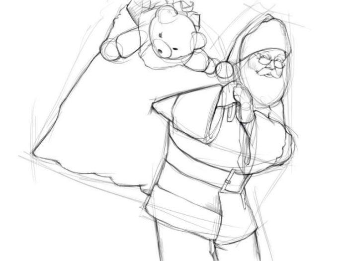 Как нарисовать Санту Клауса
