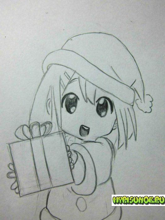 Как нарисовать новогоднюю девочку аниме
