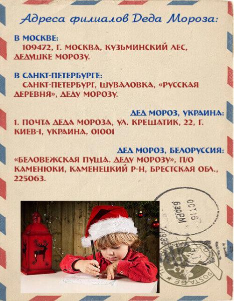 адреса отделений Деда Мороза