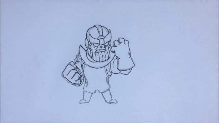 Как нарисовать чиби Таноса 12