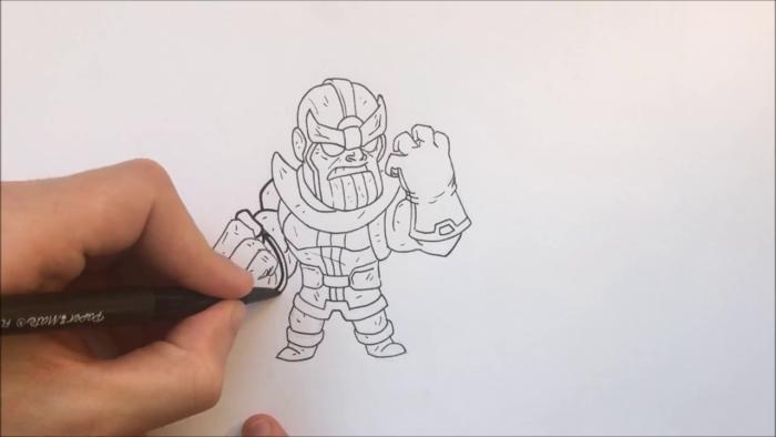 Как нарисовать чиби Таноса 16