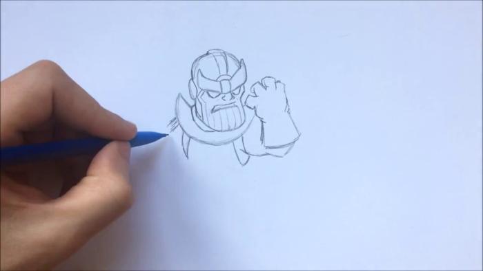 Как нарисовать чиби Таноса 6