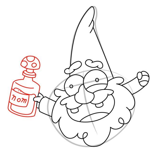 Как нарисовать гнома из Гравити фолз 7