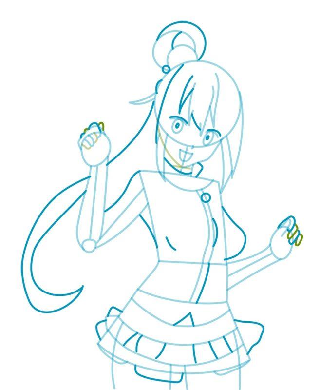 Как нарисовать богиню Акву 4