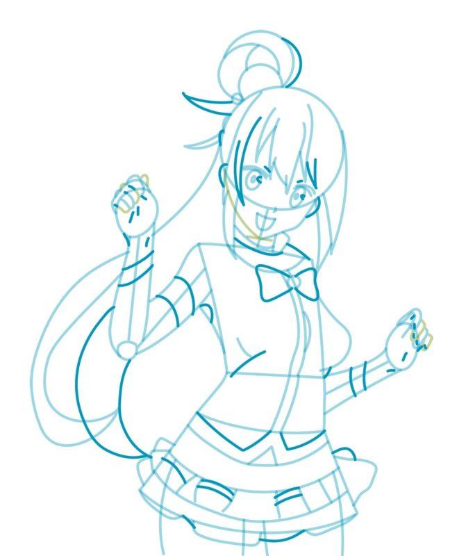 Как нарисовать богиню Акву 5
