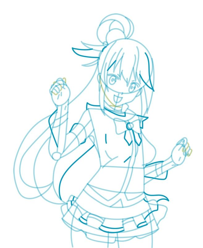 Как нарисовать богиню Акву 6