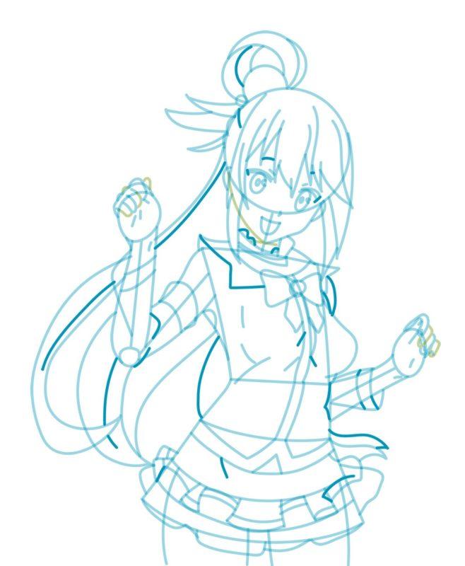 Как нарисовать богиню Акву 7
