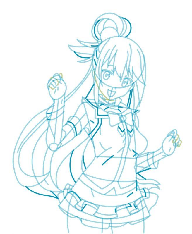 Как нарисовать богиню Акву 8