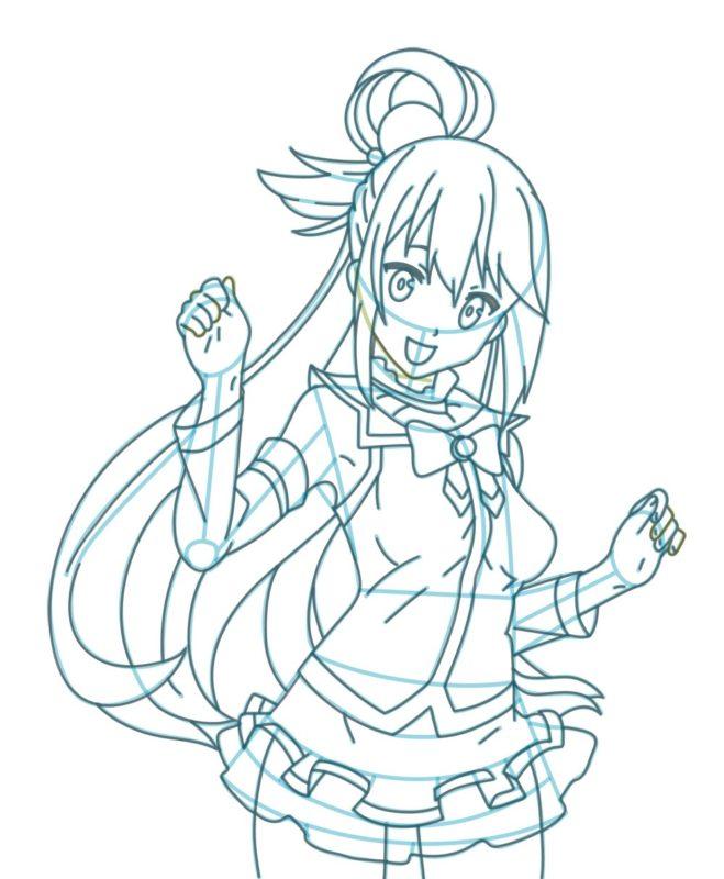 Как нарисовать богиню Акву 9
