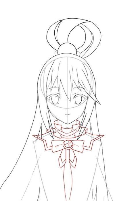 Рисуем Акву из аниме 10
