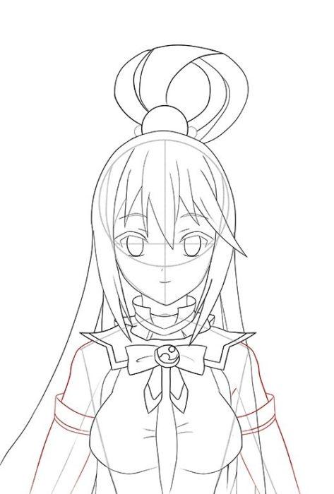 Рисуем Акву из аниме 12