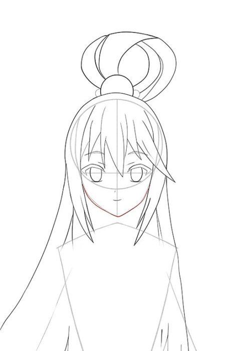 Рисуем Акву из аниме 9