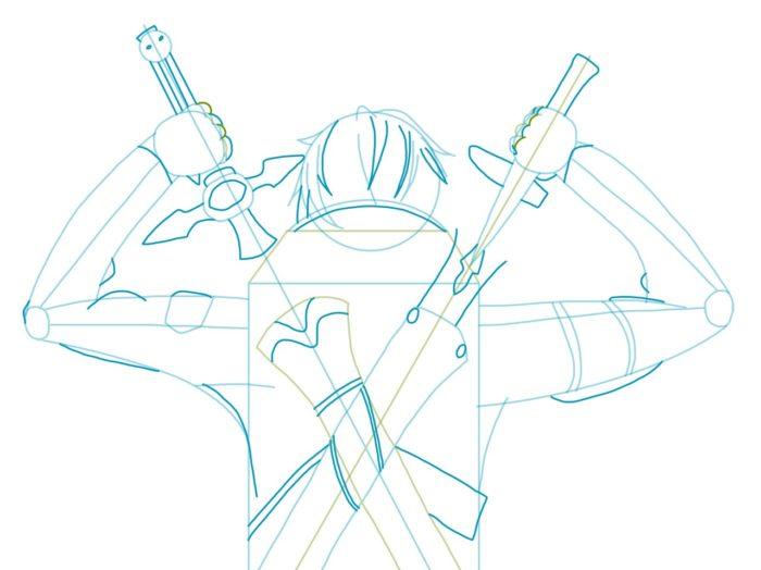 Рисовать Кирито из аниме 5
