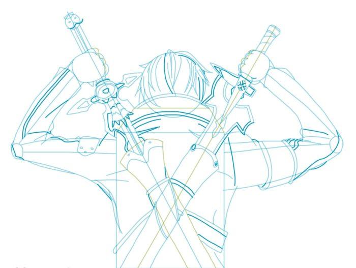 Рисовать Кирито из аниме 7